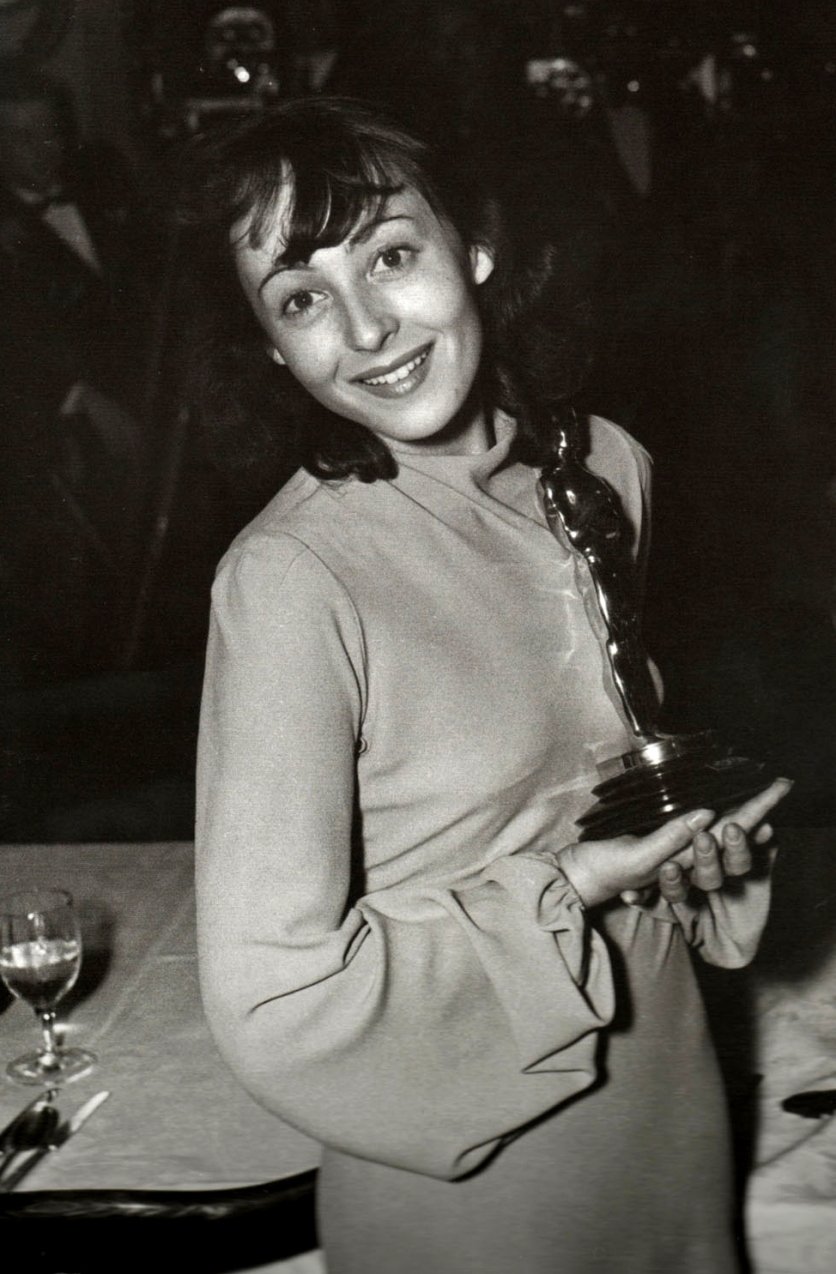 Luise Rainer with her second Oscar for Best Actress, 1938