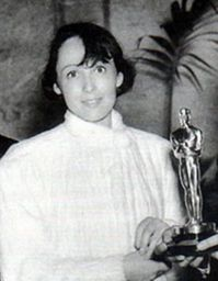 "Luise Rainer with her first Oscar awarded in 1937, for ""The Great Ziegfeld""."