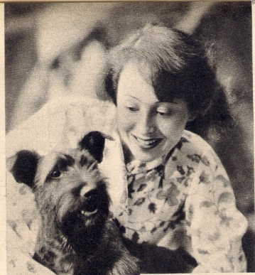 Luise with one of the loves of her life: Johnny, her Scottish terrier (1936)