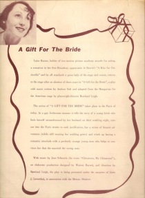 A Gift for the Bride programme (back cover)