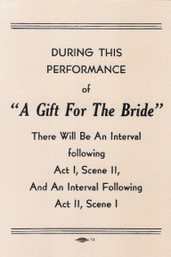 A Gift for the Bride programme (insert)