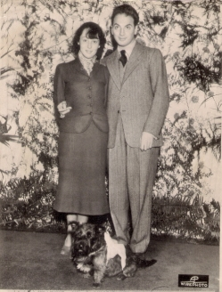 On their wedding day, at home in California, Luise Rainer and Clifford Odets (and Luise's West Highland terrier, Johnny)
