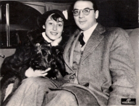 Luise Rainer and her first husband Clifford Odets, with Luise's West Highland terrier, Johnny