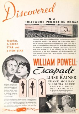 Press advertisement announcing 'a new star' - Luise Rainer - for Escapade (1935)