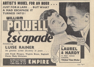 Press advertisement for Escapade (1935)