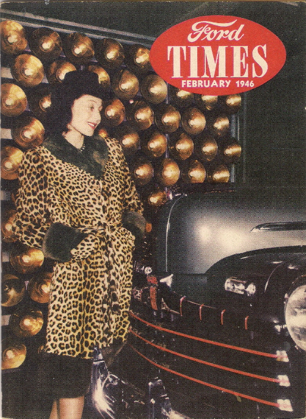 Luise Rainer visiting the Ford Motor Company's Rouge plant during her tour of A Gift for The Bride (1946), on the cover of Ford Times magazine.