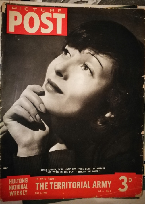 Luise Rainer on the cover of Picture Post to coincide with her appearance in Behold the Bride (1939)