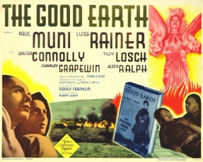 Cinema poster for The Good Earth, highlighting the link to the best-selling book.