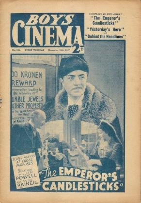 Cover of Boy's Cinema magazine featuring The Emperor's Candlesticks (November 1937)