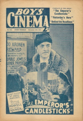 Cover of Boy's Cinema magazine featuring The Emperor's Candlesticks (November 1937)
