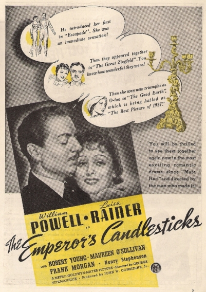 Press advert for The Emperor's Candlesticks, 1937.