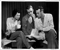 Luise Rainer, Stanley Elberson and Theodore Karl go through the script for Joan of Lorraine at Pacific Lutheran College, 1954