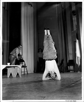 Luise Rainer exercising during rehearsals for Joan of Lorraine for Pacific Lutheran College, 1954