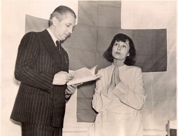 Director Erwin Piscator and Luise Rainer in rehearsal for Saint Joan in Washington DC, 1940