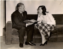 Director Erwin Piscator and Luise Rainer prepare for performances of Saint Joan in Washington DC, 1940