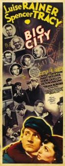 Elongated poster for Big City (1937) highlighting the real-life sports stars who make cameo appearances in the film: Jack Dempsey, Bull Montana, Jim Thorpe, Gus Sonnenberg, Jimmy McLarnin, James J. Jeffries