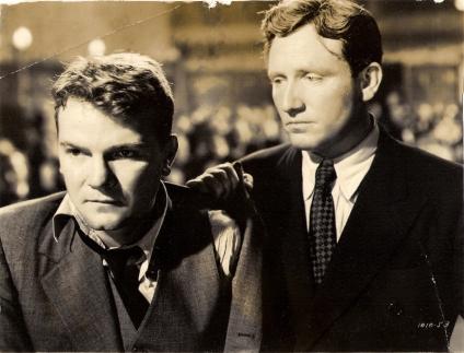 John Arledge (left) as Buddy, Spencer Tracy as Joe, in Big City (1937)