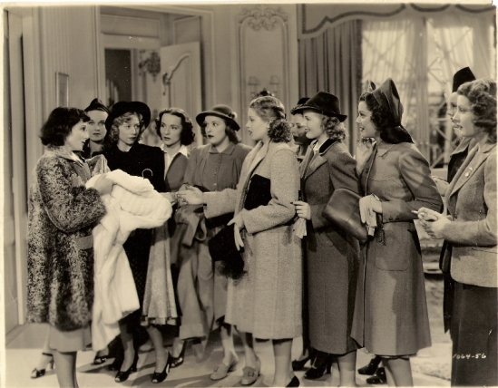 Luise Rainer (left) with her fellow cast members in Dramatic School (1938). From left: [?}, Marie Blake, [?], Dorothy Granger, Lana Turner, [?], Virginia Grey, Ann Rutherford, [?], [?].