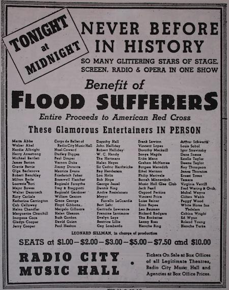 Flood Relief Benefit Advert