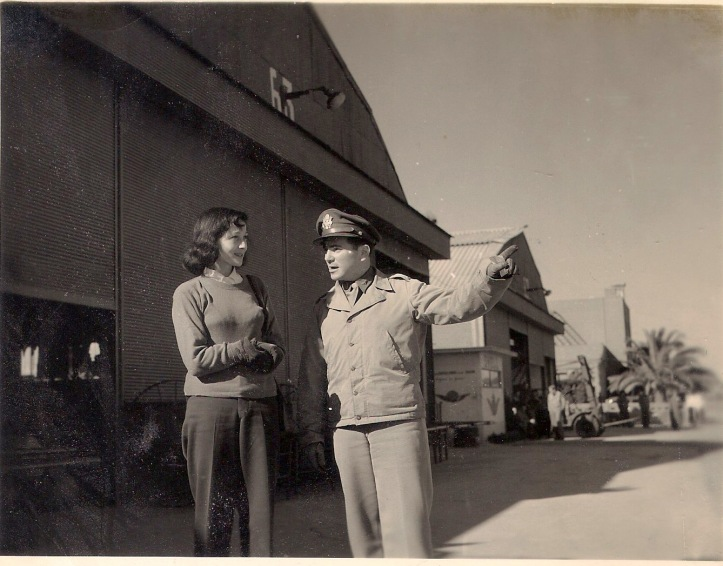 Luise Rainer with US servicemen, possibly during World War II. Date and location unknown.