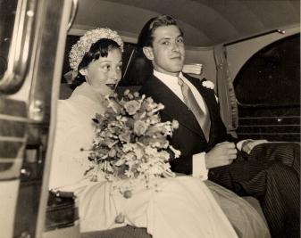 Luise Rainer and Robert Knittel on their wedding day