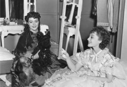 On-set candid photo of Barbara O'Neil and Luise Rainer, in The Toy Wife (1938)