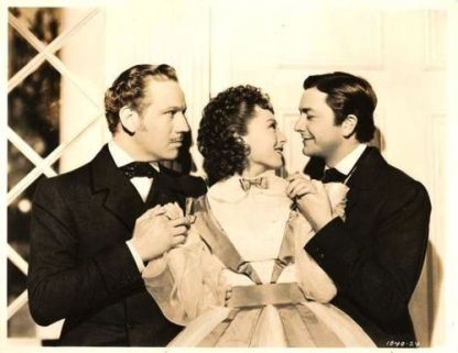 Publicity shot of Luise Rainer with her two leading men in The Toy Wife: Melvyn Douglas (left) and Robert Young