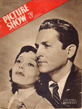 Luise with Arturo de Cordova on the cover of Picture Show magazine for the release of Hostages (March 1944)