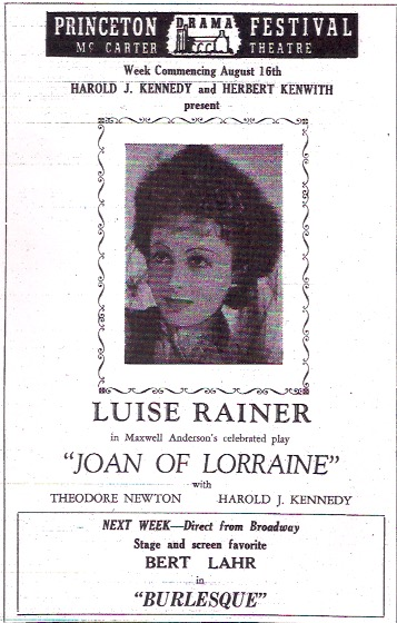 Joan of Lorraine Princeton Theatre Programme 1948